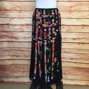 Vintage Maxi Skirt Swiss Dot And Floral Weaved